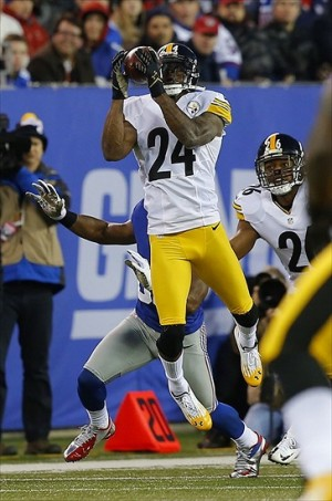 Nov 4, 2012; East Rutherford, NJ, USA; Pittsburgh Steelers cornerback Ike Taylor (24) intercept New York Giants quarterback Eli Manning (not pictured) pass during the first half at MetLife Stadium. Mandatory Credit: Jim O