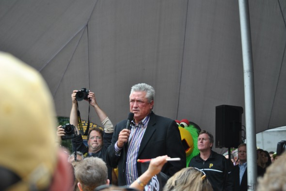 Pittsburgh Pirates manager Clint Hurdle address the crowd at Monday's rally in downtown Pittsburgh.