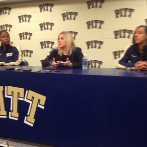 (From left) Ashlee Anderson, Head Coach Suzie McConnell-Serio and Brianna Kiesel answer questions during media day. Photo courtesy of Zachary Weiss