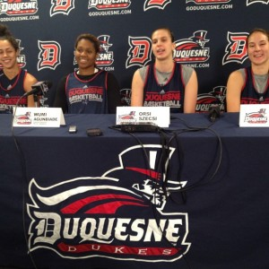 Raegen Moore, Wumi Agunbiade, Orsi Szecsi and April Robinson at Duquesne Media Day. Photo courtesy of Zachary Weiss