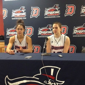 Raegan Moore and Orsi Szecsi speak following a 68-60 loss to Green Bay. Photo by Zachary Weiss