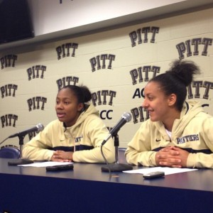 Asia Logan and Brianna Kiesel combined for 35 points in the Pitt Panthers victory against Bucknell. Photo courtesy of Zachary Weiss