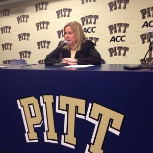 Pitt Coach Suzie McConnell-Serio speaks to the media following a 67-57 victory over Duquesne. Photo by Zachary Weiss