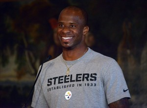 Sep 27, 2013; London, United Kingdom; Pittsburgh Steelers cornerback Ike Taylor at press conference at the Four Seasons hotel in advance of the NFL International Series game against the Minnesota Vikings. Mandatory Credit: Kirby Lee-USA TODAY Sports