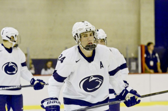 Penn State's Nate Jensen scored a second-period goal to help the Lions to a 3-2 win over Robert Morris in the Three Rivers Classic on Friday. (Photo: OnwardState.com)