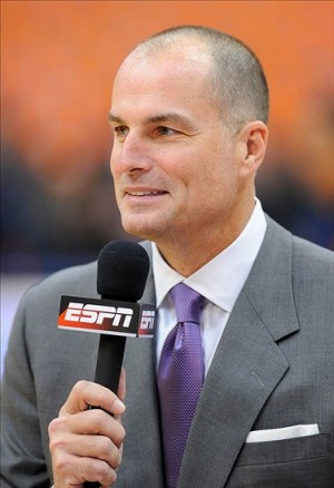 Jan 21, 2013; Syracuse, NY, USA; ESPN broadcaster Jay Bilas looks on prior to the game between the Cincinnati Bearcats and the Syracuse Orange at the Carrier Dome. Mandatory Credit: Rich Barnes-USA TODAY Sports