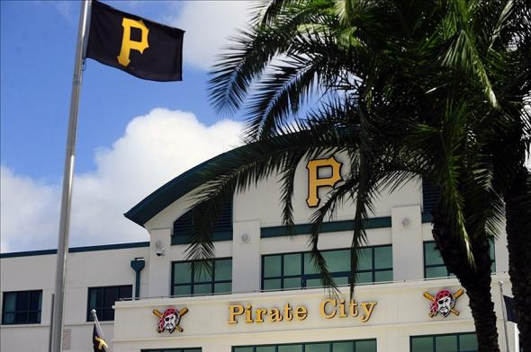 Feb 13, 2014; Bradenton, FL, USA; A Pittsburgh Pirates flag flies in front of Pirate City. Mandatory Credit: David Manning-USA TODAY Sports