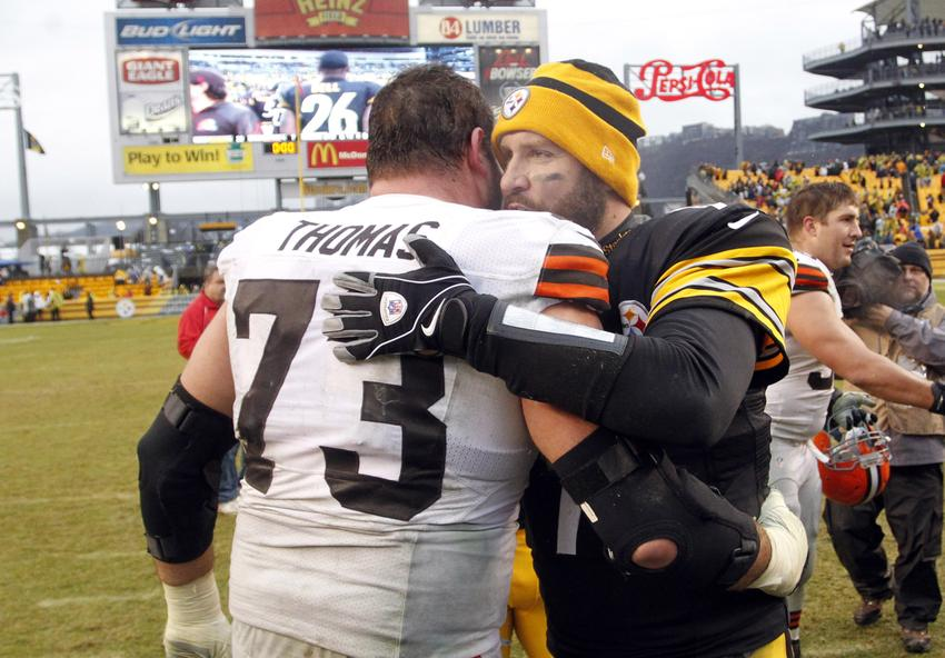 USA; Cleveland Browns tackle Joe Thomas (73) and Pittsburgh Steelers