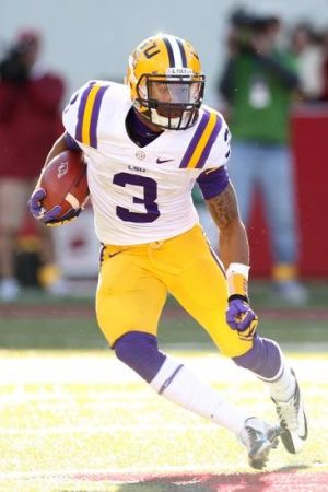 Nov 23, 2012; Fayetteville, AR, USA; LSU Tigers wide receiver Odell Beckham Jr. (3) runs after a catch against the Arkansas Razorbacks at Donald W. Reynolds Razorback Stadium. LSU defeated Arkansas 20-13. Mandatory Credit: Nelson Chenault-USA TODAY Sports
