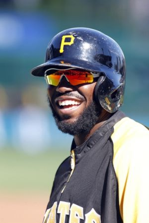 Jun 6, 2014; Pittsburgh, PA, USA; Pittsburgh Pirates right fielder Josh Harrison (5) reacts on the field before playing the Milwaukee Brewers at PNC Park. Mandatory Credit: Charles LeClaire-USA TODAY Sports