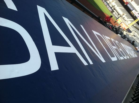 A unique perspective of the Padres dugout.
