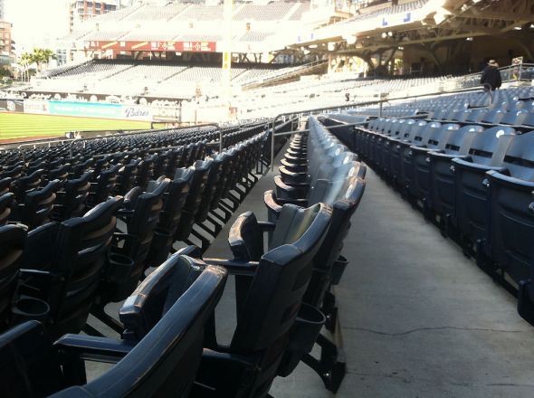 Pre-game stadium access afforded a different view of Petco Park with no one else around.