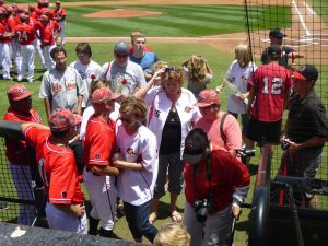 Aztecs mothers, coaches and players celebrate Senior Day and Mother's Day. Photo: Finkelstein