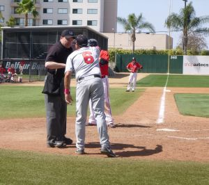 UNLV Head Baseball Coach Tim Chambers argues a call at third base and ejected from the game by home plate umpire Carl Coles. Photo: Finkelstein
