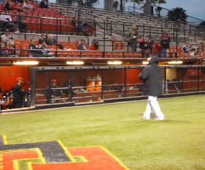 SDSU Head Coach Tony Gwynn walks back to the dugout, March 14, 2014. Photo: Finkelstein