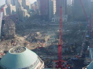 The view of the WTC site from the roof of Gateway Plaza, a 35 story apt. building.