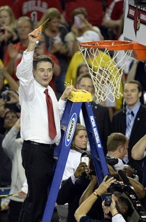 Apr 8, 2013; Atlanta, GA, USA; Louisville Cardinals head coach Rick Pitino celebrates after winning the national championship 82-76 against the Michigan Wolverines in the 2013 NCAA mens Final Four at the Georgia Dome. Mandatory Credit: Richard Mackson-USA TODAY Sports
