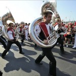 Sep 7, 2013; Louisville, KY, USA; The Louisville Cardinals marching band performs during the Card March before the game against the Eastern Kentucky Colonels at Papa John