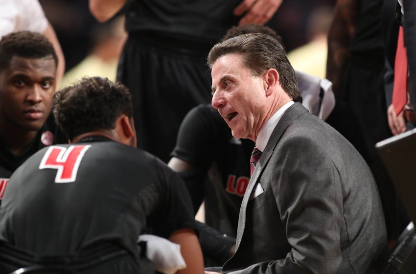 Jan 7, 2017; Atlanta, GA, USA; Louisville Cardinals head coach Rick Pitino during a time out in the first half of their game against the Georgia Tech Yellow Jackets at McCamish Pavilion. The Cardinals won 65-50. Mandatory Credit: Jason Getz-USA TODAY Sports
