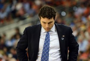 Mar 23, 2014; Raleigh, NC, USA; Memphis Tigers head coach Josh Pastner in the sidelines against the Virginia Cavaliers during the first half of a men