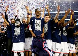 The Connecticut Huskies are celebrating their national championship win over the Kentucky Wildcats (60-54) on April 5, 2014.