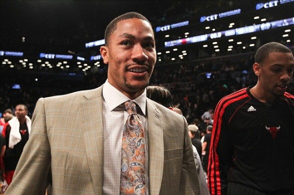 May 4, 2013; Brooklyn, NY, USA; Chicago Bulls point guard Derrick Rose (1) smiles as he walks off the court in game seven of the first round of the 2013 NBA Playoffs against the Brooklyn Nets at the Barclays Center. Bulls win 99-93. Mandatory Credit: Debby Wong-USA TODAY Sports