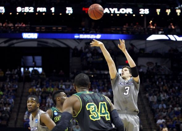 Mar 23, 2014; San Antonio, TX, USA; Creighton Bluejays forward Doug McDermott (3) shoots against the Baylor Bears in the first half of a men