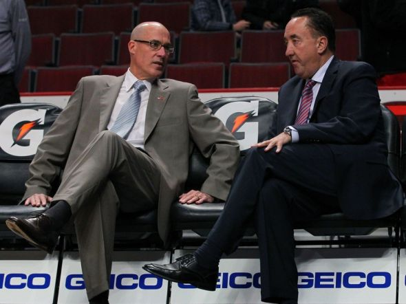 Oct 31, 2012; Chicago, IL, USA; Chicago Bulls vice president of basketball operations John Paxson (left) and general manager Gar Forman (right) chat prior to a game against the Sacramento Kings at the United Center. Mandatory Credit: Dennis Wierzbicki-USA TODAY Sports