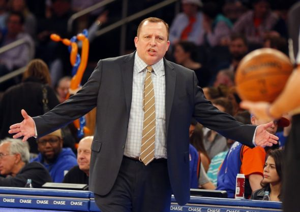 Apr 13, 2014; New York, NY, USA; Chicago Bulls head coach Tom Thibodeau reacts during the first half against the New York Knicks at Madison Square Garden. Mandatory Credit: Jim O