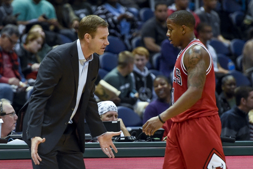 Oct 15, 2016; Milwaukee, WI, USA; Chicago Bulls head coach Fred Hoiberg talks to guard Isaiah Canaan (0) in the third quarter during the game against the Milwaukee Bucks at BMO Harris Bradley Center. Mandatory Credit: Benny Sieu-USA TODAY Sports