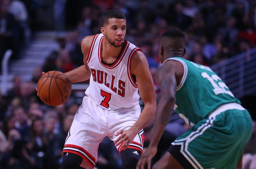Oct 27, 2016; Chicago, IL, USA; Chicago Bulls guard Michael Carter-Williams (7) defended by Boston Celtics guard Terry Rozier (12) during the second half at the United Center. Chicago won 105-99. Mandatory Credit: Dennis Wierzbicki-USA TODAY Sports