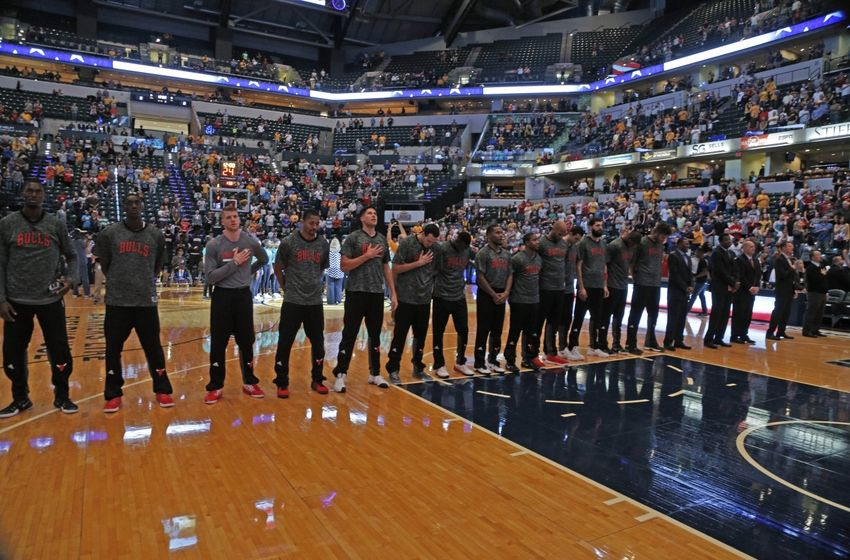 Oct 6, 2016; Indianapolis, IN, USA; The Chicago Bulls players look on during the national anthem prior to their game against the Indiana Pacers at Bankers Life Fieldhouse. Mandatory Credit: Brian Spurlock-USA TODAY Sports