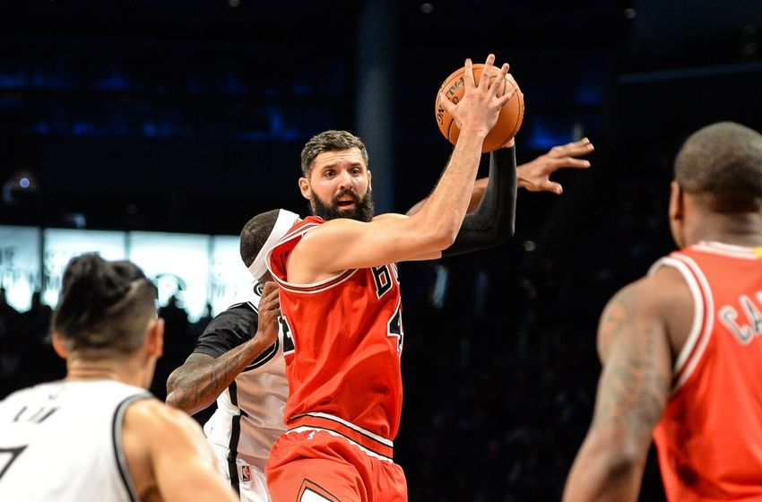 Oct 31, 2016; Brooklyn, NY, USA; Chicago Bulls forward Nikola Mirotic (44) steals the ball during the second quarter against the Brooklyn Nets at Barclays Center. Mandatory Credit: Dennis Schneidler-USA TODAY Sports