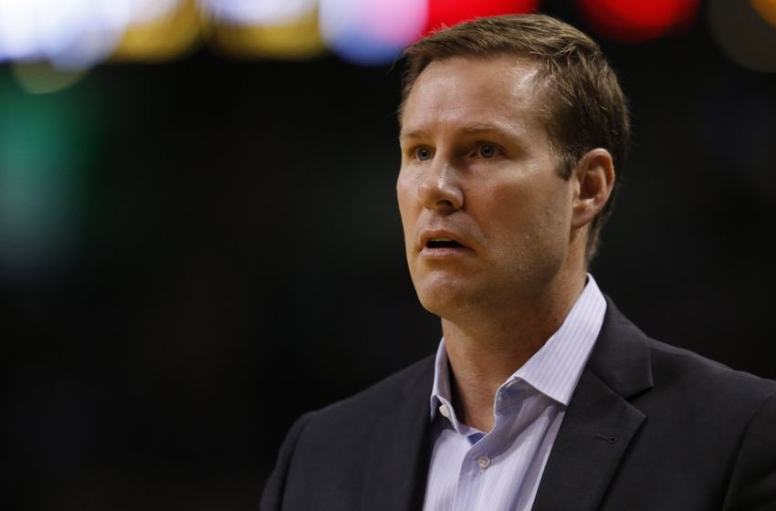 Nov 2, 2016; Boston, MA, USA; Chicago Bulls head coach Fred Hoiberg on the side line during the second quarter against the Boston Celtics at TD Garden. Mandatory Credit: Greg M. Cooper-USA TODAY Sports
