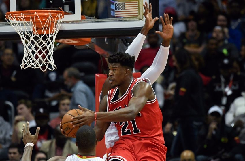 Nov 9, 2016; Atlanta, GA, USA; Chicago Bulls guard Jimmy Butler (21) controls the ball under the basket against the Atlanta Hawks during the second half at Philips Arena. The Hawks defeated the Bulls 115-107. Mandatory Credit: Dale Zanine-USA TODAY Sports