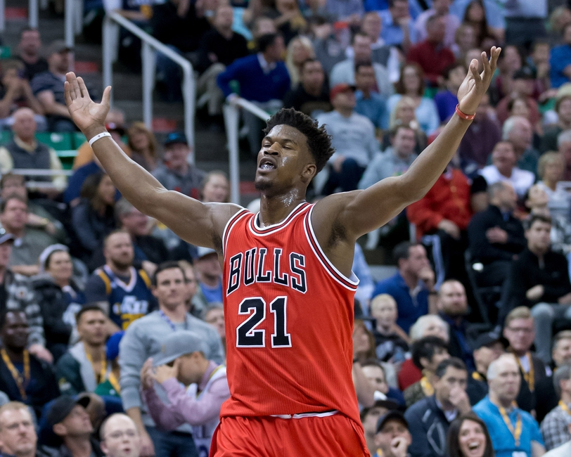 Nov 17, 2016; Salt Lake City, UT, USA; Chicago Bulls forward Jimmy Butler (21) reacts to hitting a three-point shot at the first-half buzzer against the Utah Jazz at Vivint Smart Home Arena. Mandatory Credit: Russ Isabella-USA TODAY Sports