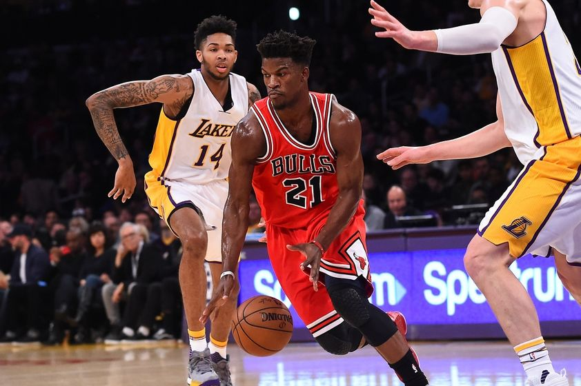 Nov 20, 2016; Los Angeles, CA, USA; Chicago Bulls forward Jimmy Butler (21) dribbles the ball past past Los Angeles Lakers forward Brandon Ingram (14) in the first quarter of the game at Staples Center. Mandatory Credit: Jayne Kamin-Oncea-USA TODAY Sports