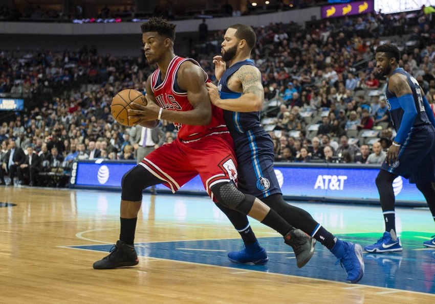 Dec 3, 2016; Dallas, TX, USA; Dallas Mavericks guard Deron Williams (8) guards Chicago Bulls forward Jimmy Butler (21) during the first quarter at the American Airlines Center. Mandatory Credit: Jerome Miron-USA TODAY Sports