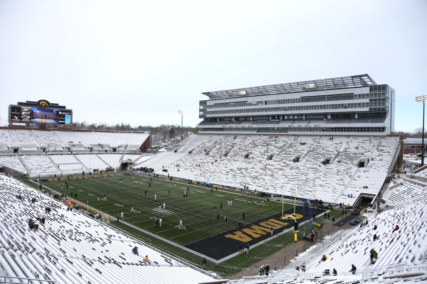 Nov 21, 2015; Iowa City, IA, USA; A general view of snow in the stadium before the game between the Iowa Hawkeyes and Purdue Boilermakers at Kinnick Stadium. Mandatory Credit: Reese Strickland-USA TODAY Sports