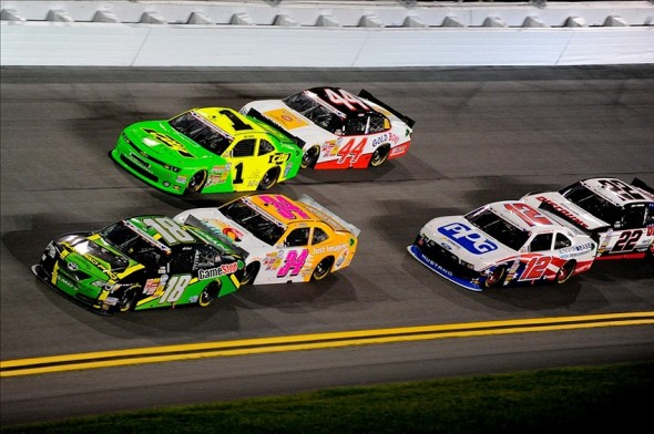 Jul 5, 2013; Daytona Beach, FL, USA; NASCAR Nationwide Series driver Matt Kenseth (18) leads during the Subway Firecracker 250 at Daytona International Speedway. Mandatory Credit: Kevin Liles-USA TODAY Sports