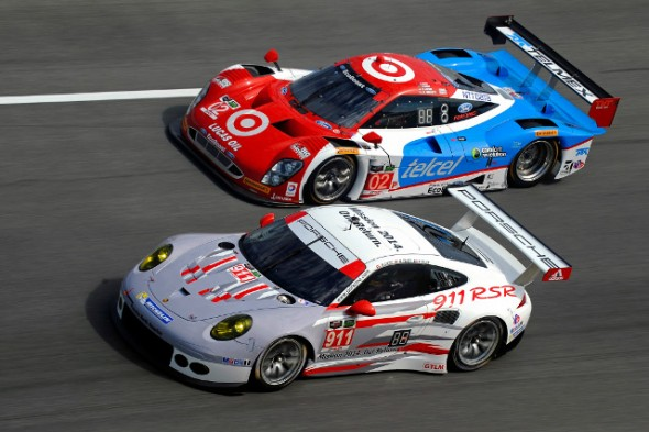 The GTLM class winning Porsche 911 GT3, seen here racing with the Ganassi Prototype #02. Credit: IMSA