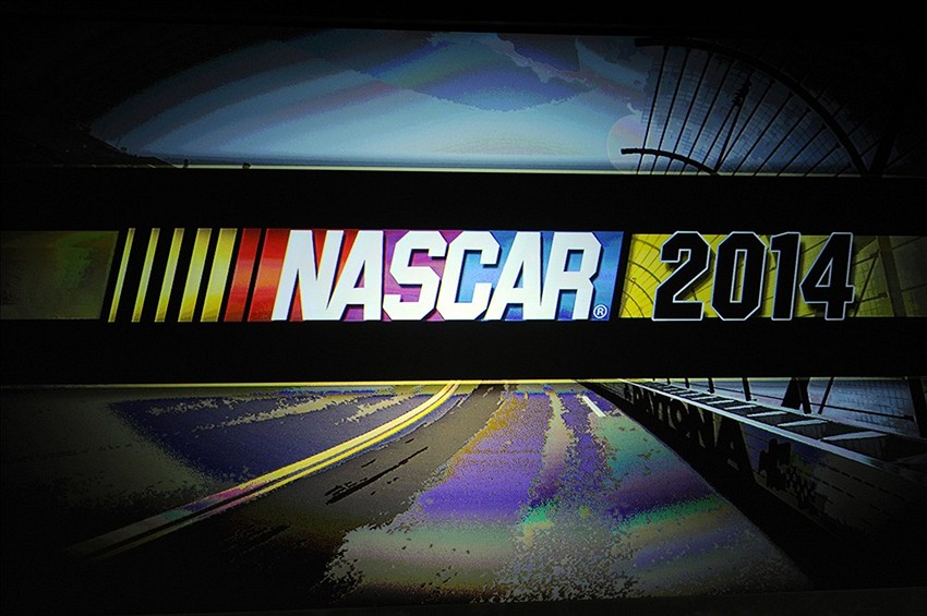 Jan 30, 2014; Charlotte, NC, USA; A general view of the NASCAR logo during the Sprint Media Tour at the Charlotte Convention Center. Mandatory Credit: Sam Sharpe-USA TODAY Sports