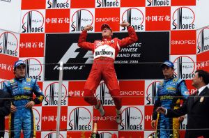 Michael Schumacher takes the win at the 2006 Chinese Grand Prix.