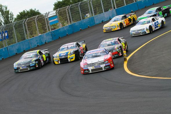 The 9-degree banked Tours Speedway created some great 2 and 3-wide racing over the weekend. Credit: NASCAR Whelen Euro Series Flickr