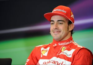 Nov 18, 2012; Austin, TX, USA; Formula One driver Fernando Alonso (5) is interviewed after finishing in third place in the United States Grand Prix at the Circuit of the Americas. Alonso has had little to smile about in 2014. Mandatory Credit: Jerome Miron-USA TODAY Sports