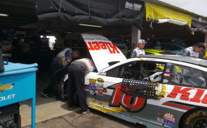 The 16 team works on Greg Biffle's car after the final Sprint Cup Series practice on Saturday. Photo Credit: Michael Guadalupe