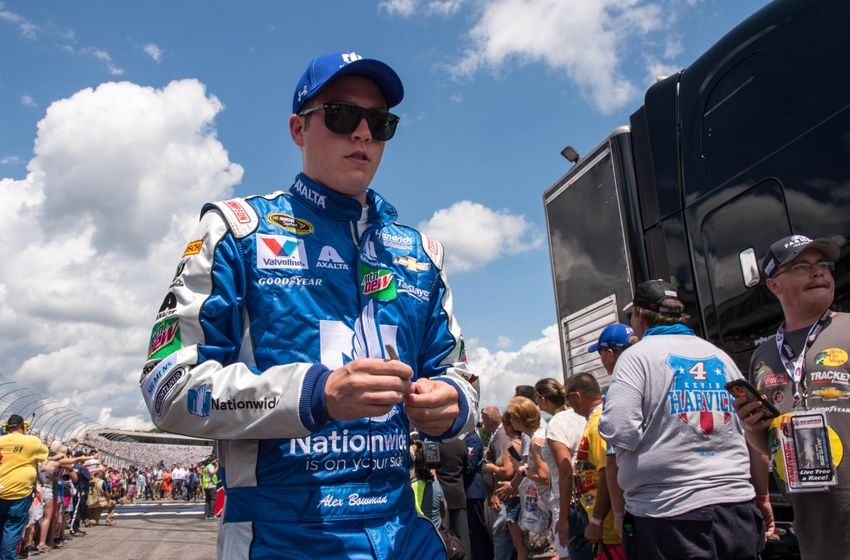 Jul 17, 2016; Loudon, NH, USA; Sprint Cup Series driver Alex Bowman (88) is introduced before the New Hampshire 301 at the New Hampshire Motor Speedway. Mandatory Credit: Jerome Miron-USA TODAY Sports