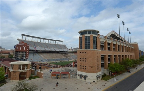 Mar 30, 2013; Austin, TX, USA; General view of Darrell K. Royal Texas Memorial Stadium on the campus of the University of Texas. Mandatory Credit: Kirby Lee-USA TODAY Sports