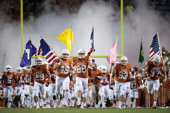 Oct 20, 2012; Austin, TX, USA; The Texas Longhorns take the field prior to kick off against the Baylor Bears at Darrell K Royal-Texas Memorial Stadium. Texas beat Baylor 56-50. Mandatory Credit: Brendan Maloney-USA TODAY Sports