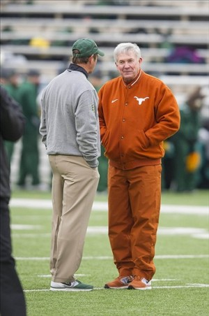 Dec 7, 2013; Waco, TX, USA; Texas Longhorns head coach Mack Brown and Baylor Bears head coach Art Briles before the game at Floyd Casey Stadium. Mandatory Credit: Jerome Miron-USA TODAY Sports